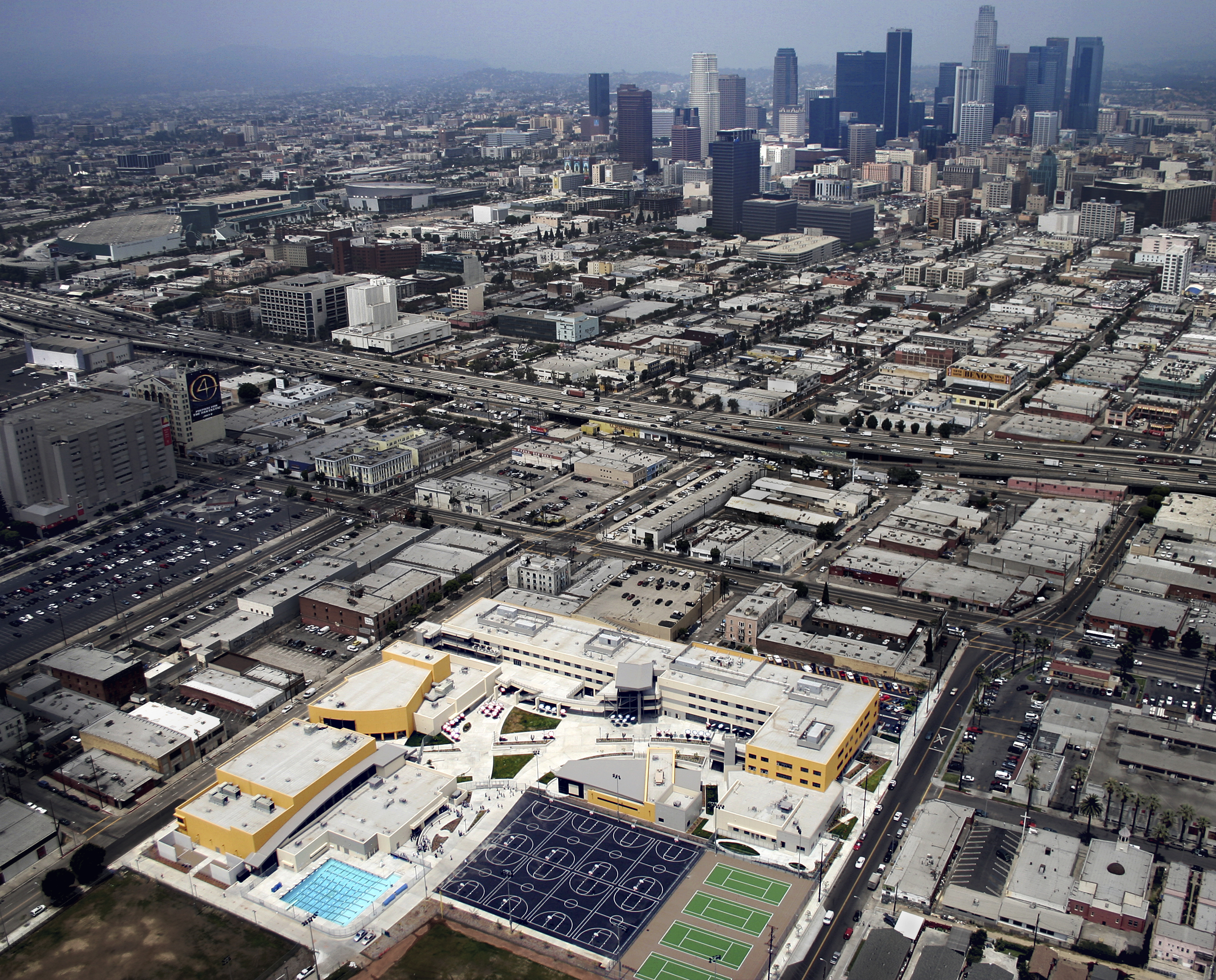 aerial with downtown los angeles