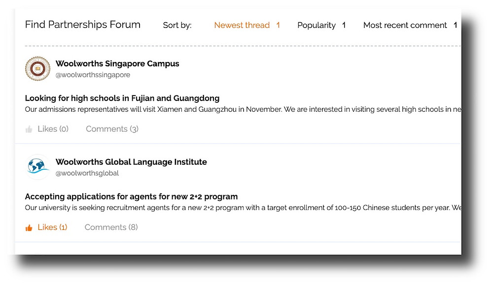 Build new partnerships in our Find Partnership Forum - eduFair China