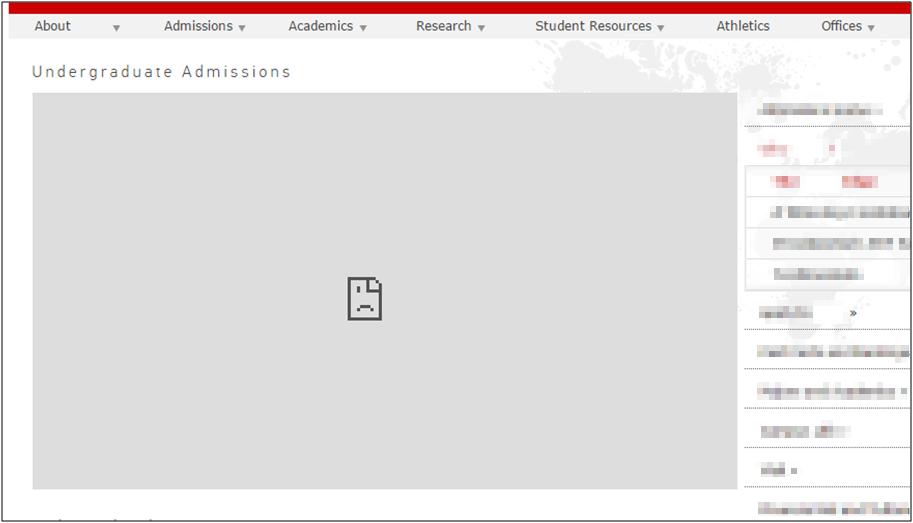 A university's website as accessed from China