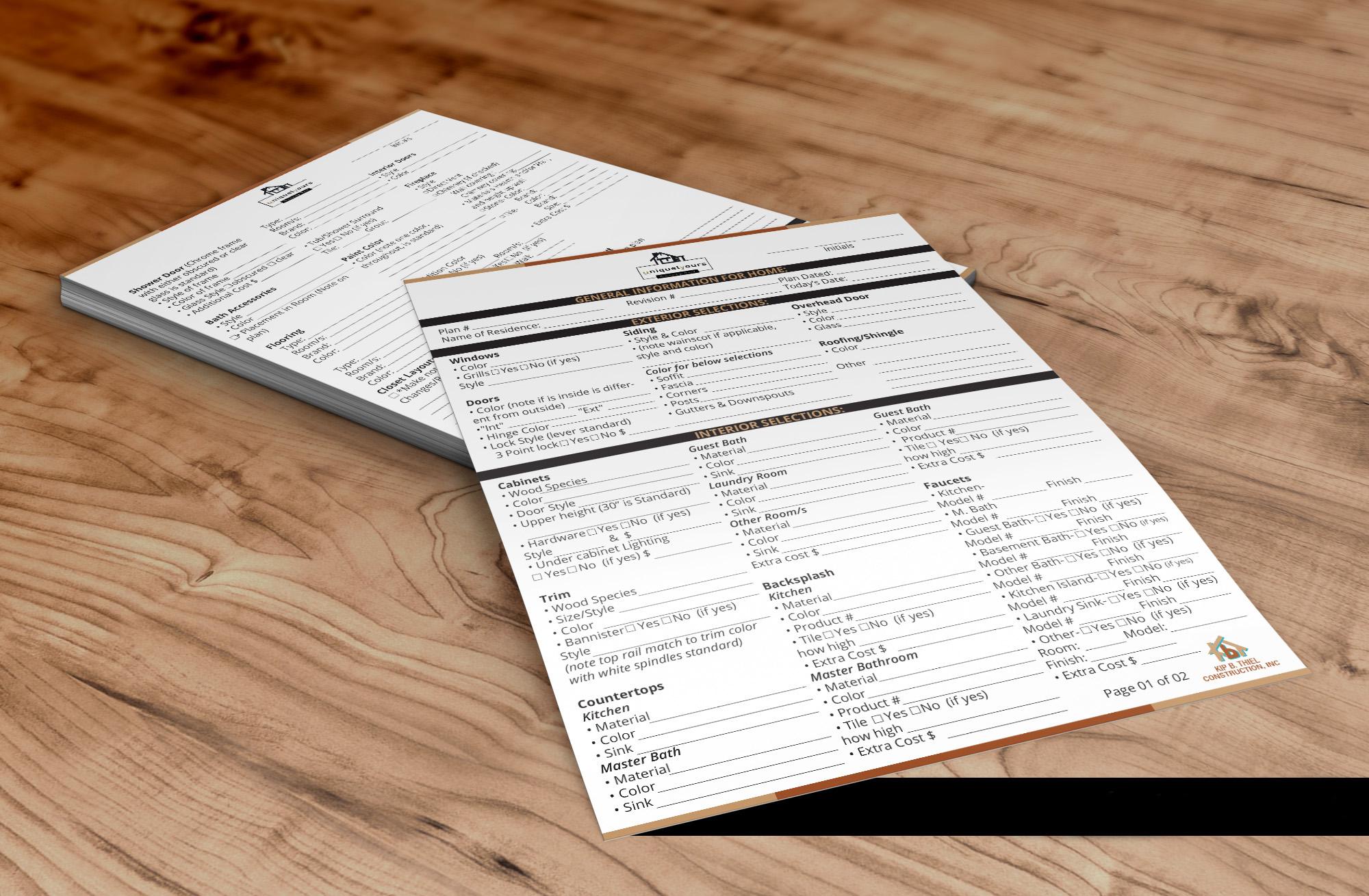 uniquelyours Selection Form