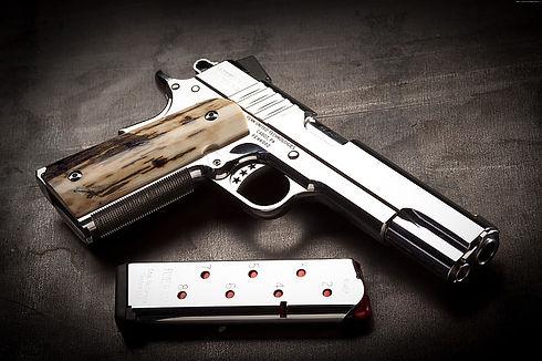 silver-cabot-1911-4k-pistol-wallpaper-pr