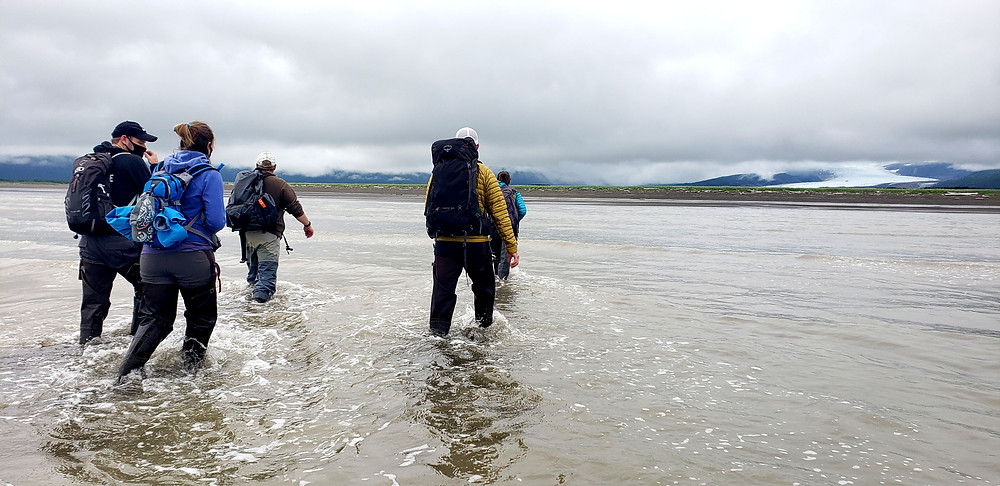 Getting to shore on a low tide—a 1/4 mile walk sloshing through ocean. Photo Credit: Kelsey Childers