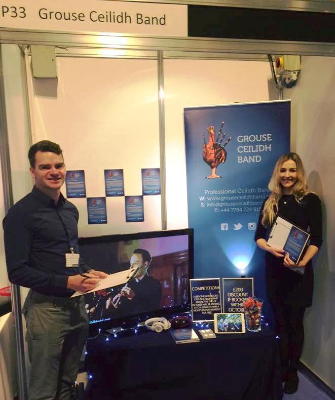 Mat Arnott and Mairi Therese Gilfedder on Grouse Ceilidh Band's Stand at The Scottish Wedding Show