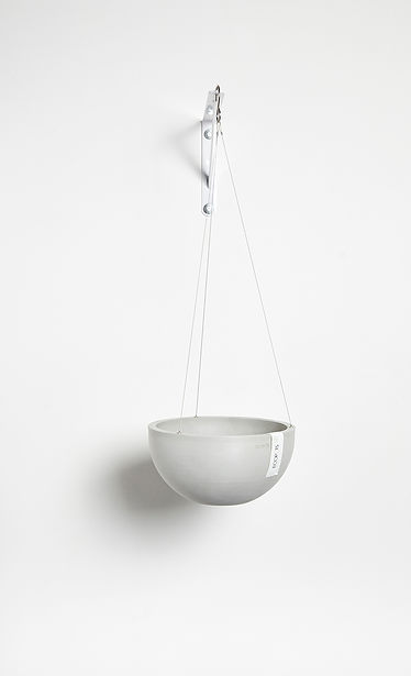 Ecopots Hanging Brussels flower pot in White Grey