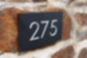 House number sign three digits in silver