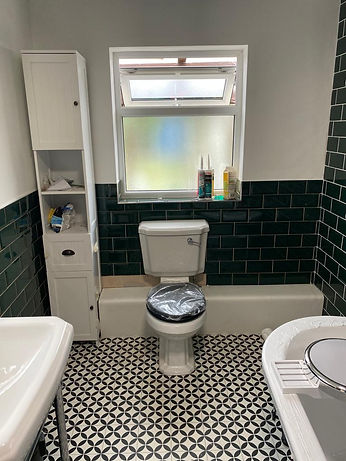 Timber Frame Lean to and from Bathroom (