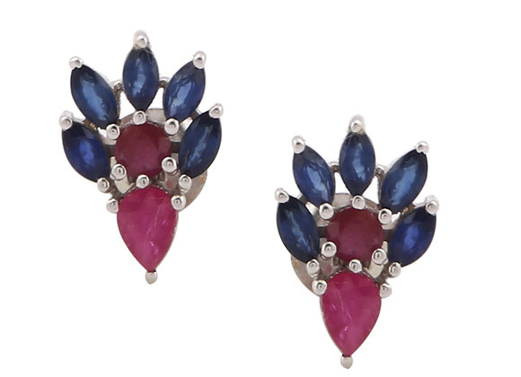 Peacock Style Stud Earrings with Ruby and Blue Sapphire in 925 Silver