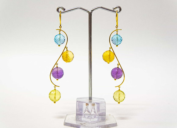 18K Gold S-shape stone drop Earring