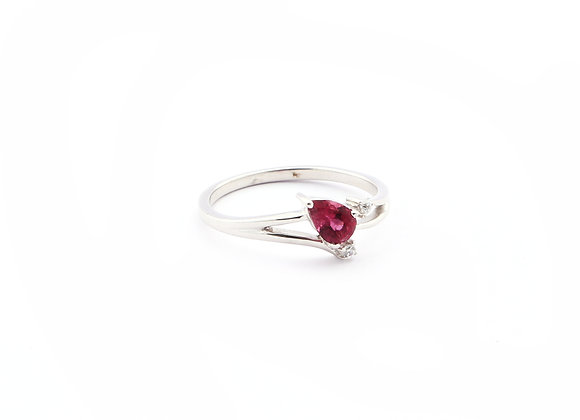 Special cut-shank Ruby Ring with CZ in 925 Silver