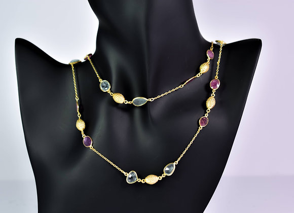 Gold Plated 925 Silver Bezel Chain with Aquamarine and Pink Tourmaline