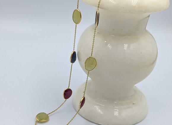 Bezel Chain with Multi Sapphires 18K Gold