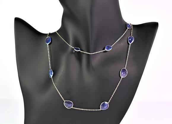 Rich Tanzanite Bezel Chain in 925 Silver
