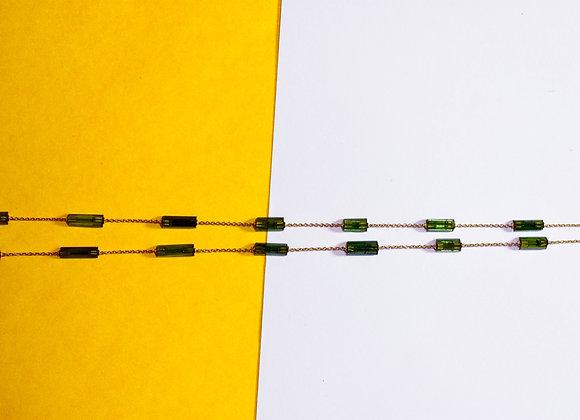 Minimalist Bezel Chain with Tourmaline