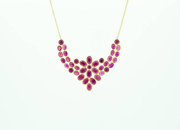 Alluring Ruby Cluster Necklace 18K Gold