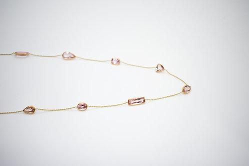 Rich Morganite Random shape necklace