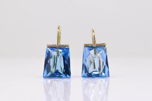 Beautiful Swiss Blue Topaz & Diamond Earrings