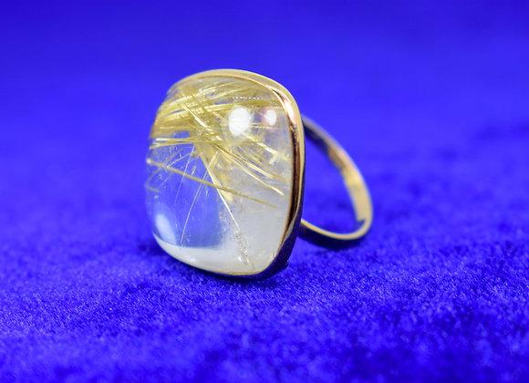Mega Golden Rutile 18K Gold Ring