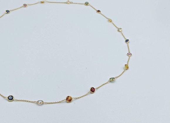 Lightweight Bezel Chain in 18K Gold