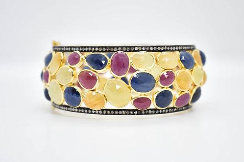 Bold Multi Sapphire & Diamond Bangle