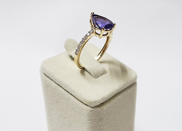Rich Tanzanite Ring with Micro-Pave Diamond Setting in 18K Gold