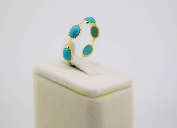 Minimal Turquoise Eternity Band in 18K Gold