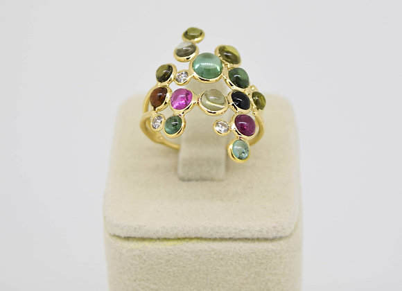 Elegant Cluster Mutli Tourmaline Ring in 18K Gold