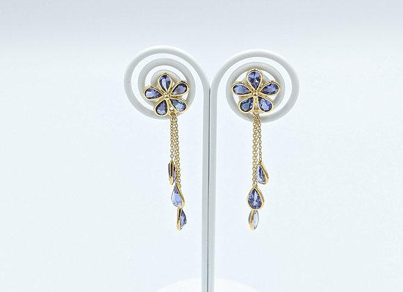 Rich Tanzanite Flower and Drop Earrings in 18K Gold