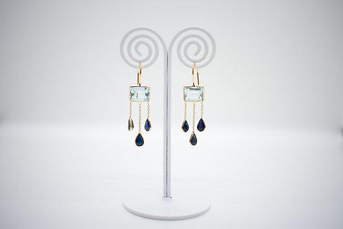 Aquamarine & Blue Sapphire Earrings