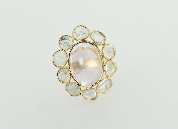 Morganite 18K Gold Ring circled with Diamond Polki