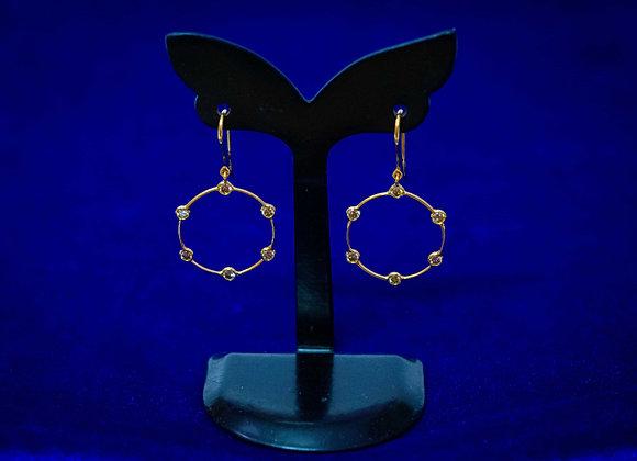 18K Gold Circle Diamond Earring