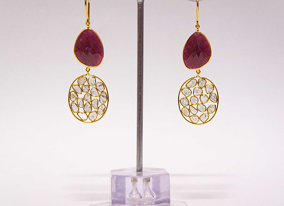 18K Gold Earring with Ruby and Diamond