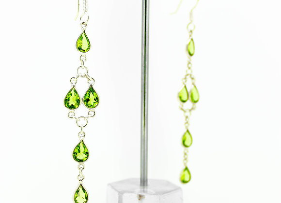 Single Line Peridot Earring in 925 Sterling Silver