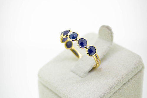 Half shank micro-pavé Diamond, & Blue Sapphire Eternity Band
