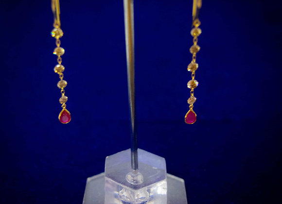 18K Gold Earring with Diamond and Ruby Drops