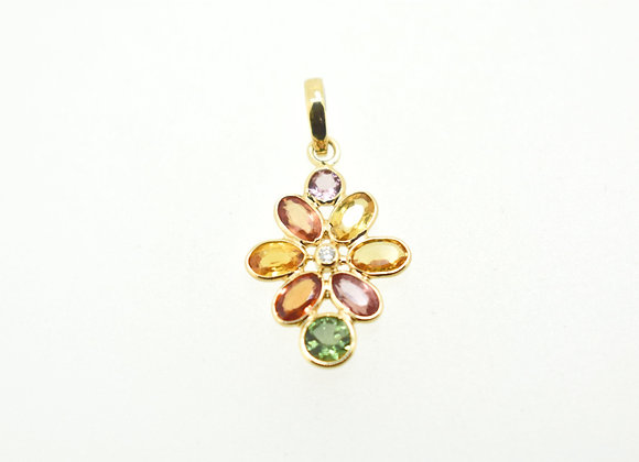 Everyday Wear Flower Pendant with Diamond and Multi-sapphire cut in 18K Gold