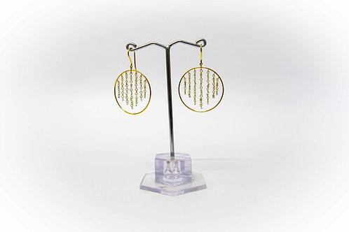 Drilled Diamond baguette ladder earrings