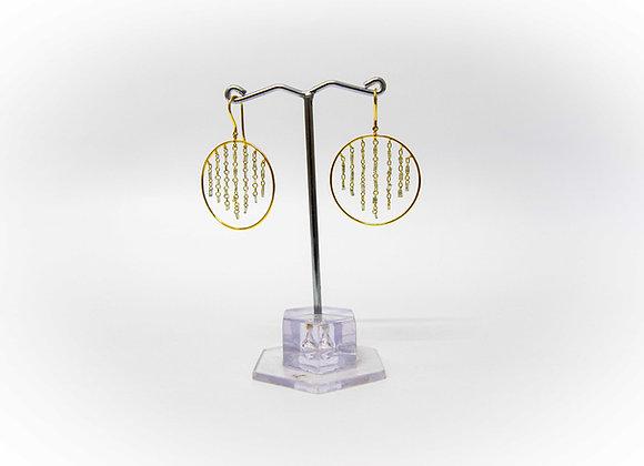 Drilled Diamond Baguettes 18K Gold Earring