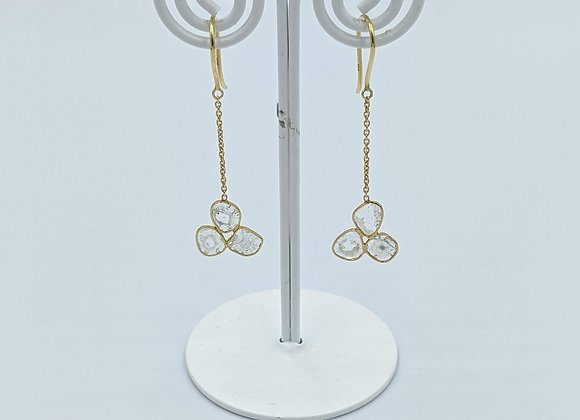 Tri-Diamond Polki Earring in 18K Gold