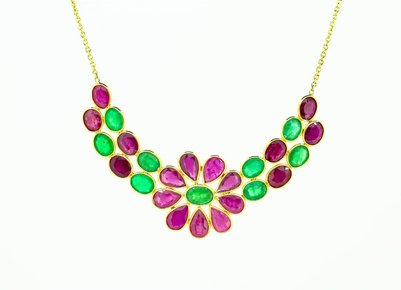 Cluster Indian-pattern necklace with Ruby and Emerald in 18K Gold