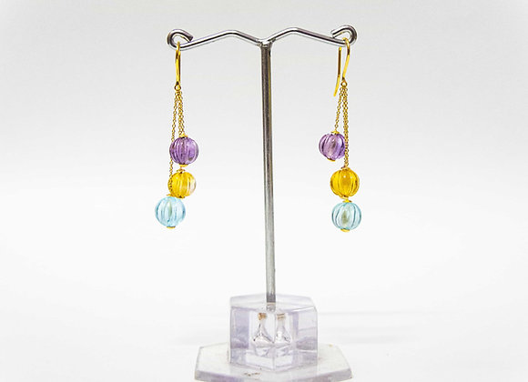 18K Gold Earring with Watermelon Cut stones