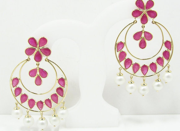 Indian-pattern Ruby Earrings 18K Gold with Pearl Drops