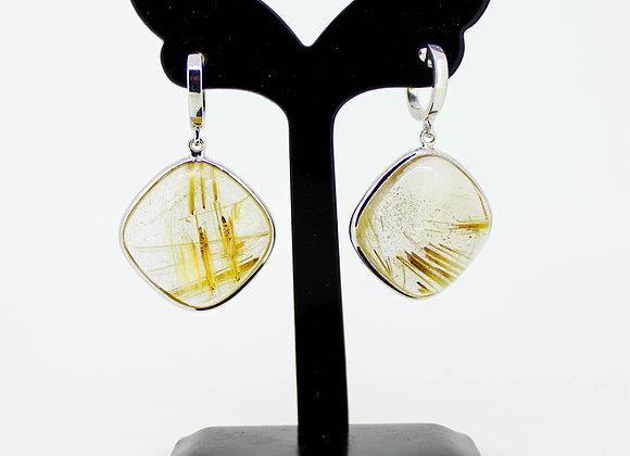 Minimalist Golden Rutile Earring in Sterling Silver
