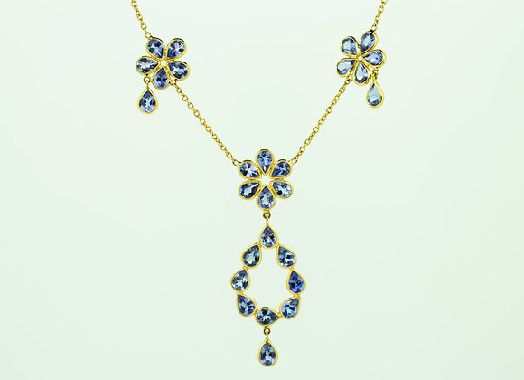 Rich Tanzanite Necklace in 18K Gold