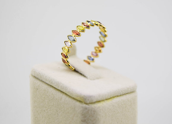 Beautiful Multi Sapphire Eternity Band in 18K Gold