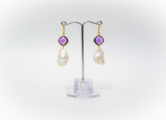 18K Gold Earring with Amethyst and Pearl