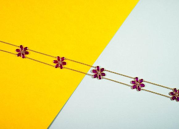 Flower Ruby Bezel Chain with Diamond in 18K Gold