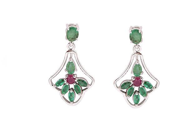 Beautiful Emerald and Ruby Earrings in 925 Silver