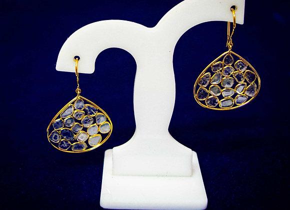 Diamond Polki Cluster 18K Gold Earring