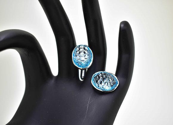 Lightweight Swiss Blue Topaz Cufflinks in 925 Silver