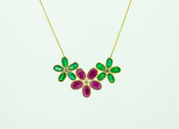 Tri-flower Ruby and Emerald Necklace with Diamond